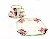 Art Deco Windsor China Trio Set, Teacup, Saucer and Plate, 3 pc Luncheon, Dessert, Hand Painted, Flowers
