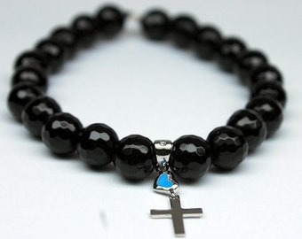 Genuine faceted Black Onyx bracelet accented with a charm