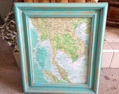 Shabby Chic Turquoise Framed Maps -Painted , Distressed ,Upcycled, ornate