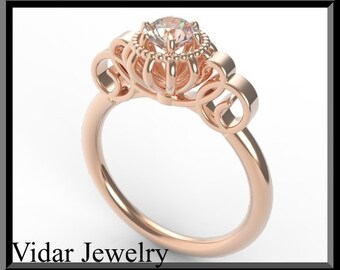 Unique Engagement Ring,Flower Engagement Ring,Morganite Engagement Ring,14k Rose Gold Engagement Ring,Solitaire Engagement Ring