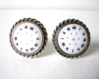 Vintage Michaud Sterling Silver Roman Dial Watch Face Cufflinks