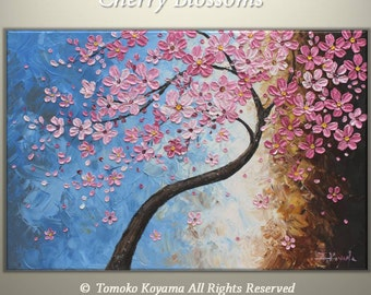 "Original Impasto Oil Modern Abstract Art  Painting on  Gallery wrapped Canvas 36"" x 24"" -Cherry  Blossoms- by Tomoko Koyam"