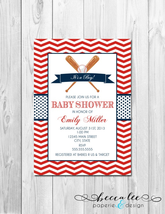 baseball baby shower invitation chevron stripes diy printable