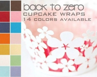 100 Daisy Flower Floral Cupcake Wrappers Wraps - 15 Colors Available