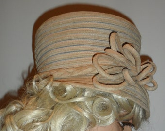 mon cheri  tan vintage hat   unique desoign with bow braided band