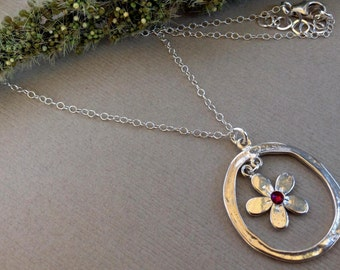 Forget-Me-Not Flower Necklace in Sterling Silver With Swarovski Crystal, Forget Me Not Jewelry, Symbol of Love Necklace.