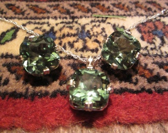 Matched Set of Green Amethyst Earrings and Pendant
