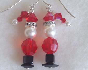 Santa Earrings . Handmade . Christmas Earrings . Santa Claus Earrings . Swarovski Earrings .  Holiday Earrings.