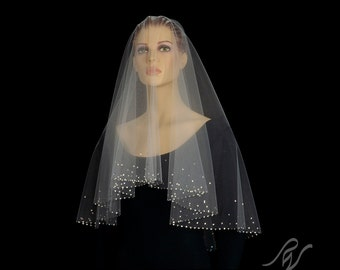 Drop Veil with Gradient Rhinestone Border, Made With SWAROVSKI ELEMENTS
