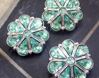 3 Light Green & Silver Tone Acrylic Flower Gem Buttons