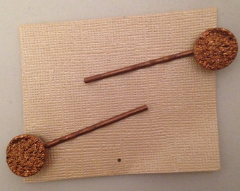 Glitter Copper Gems Bobbie Pin, Set of 2