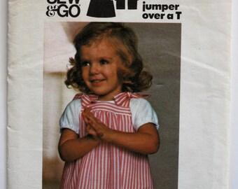 Girls Dress Pattern- Sewing Pattern Toddler Girls Jumper (Tie-on) Vintage 1970s Butterick 4782 Size 1