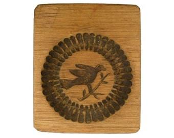 Vintage Wood Butter Mold Bird on a Stem Design