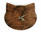 Cat head shape wall clock in walnut colour- with hours marked with dots