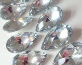 10 Teardrop Chandelier Crystals Clear with Silver Mirrored Back Shabby Cottage Chic 38mm Chandelier Prism Crystals