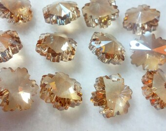50 Champagne 14mm Chandelier Crystal Snowflakes TWO HOLES Beads Crystal Shabby Cottage Chic Crystal Prisms