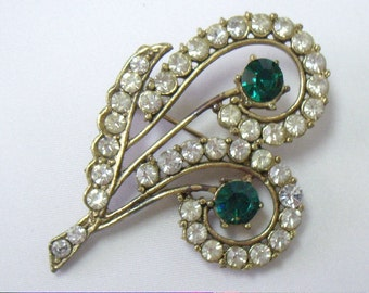 Vintage Art Deco White and Green Paisley Rhinestone Brooch Pin
