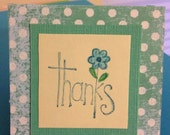 BLUE GREEN POLKA Dot Print Handcrafted Mini Thank You Cards, Matching Daisy, Blank Inside,  Acid Free Linen Cardstock