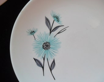 2 Vintage Aqua and Grey Bread and Butter Plates