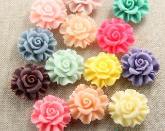 12 pcs of resin flower cabochon 27x27x13mm-RC0182-Mix color