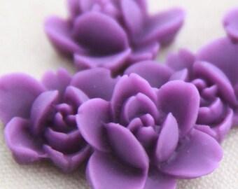 12 pcs of resin lotus flower cabochon RC0011-2-purple