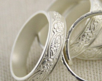 2 pcs of brass ring base open adjustable design-18mm inner diameter 4.5mm width-4046-matte silver on sterling silver