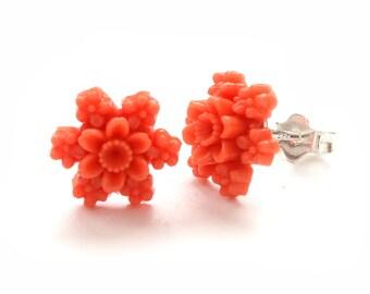 Vintage Orange Resin Flower Post Earrings Sterling Silver Orange Flower Studs Earrings Gift For Her