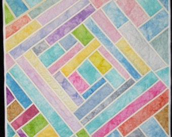 Pastel Stained Glass - Original Fiber Textile Quilt Wall Art - Framed Wall Hanging