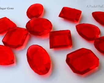 30 LARGE Red Edible Sugar Gems Jewels Barley Sugar Hard Candy Cake Decor Cupcake Jewels