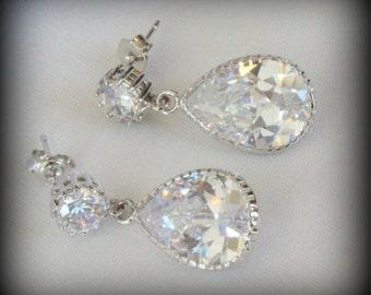 Bridal Earrings Crystal Bridal Earrings Bridesmaid Earrings Crystal Drop Earrings Wedding Earrings Pear Shaped