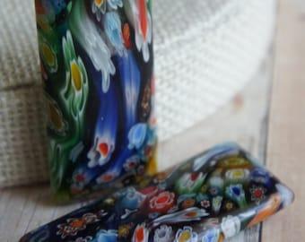 Glass Beads, Extra Large Bead, Supplies, Czech glass Blue, orange,black, white Murano Czech Glass 2