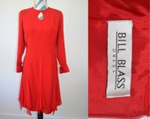 RESERVED Vintage Bill Blass Red Dress Long Sleeves Formal Dress with Keyhole & Chiffon Flowy Skirt Red Sheath Size 8