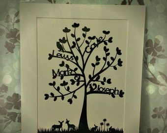 Personalised woodland family tree paper cut