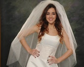 Light Ivory Two Layer Bridal Veil Fingertip Length 46 Double Layer 2 Tier White Wedding Veils Illusion 72 Wide