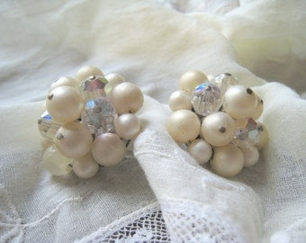 Vintage Faux Pearl AB Faceted Crystal bead Earrings Silver Tone Metal Bridal Wedding Jewelry Vintage Bride Retro Clip Earrings Sparkle Shine