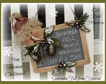 Primitive Snowman Pattern Snowmen Fall from Heaven Prim Snowman Chalkboard Christmas ePattern