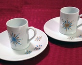 Round Espresso Cup and Saucer with Retro Starburst Design- Set of 2