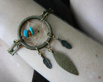 dreamcatcher bracelet turquoiseand amber  in bohemian tribal gypsy boho hipster native american inspired hippie style