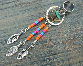 Orange dreamcatcher ear cuff turquoise pink orange blue beads in  tribal boho hippie belly dancer and hipster style