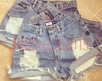 High waisted denim shorts destroyed shorts cuffed