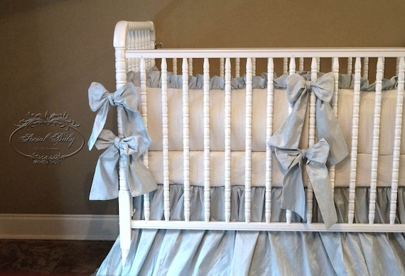 3 crib bedding by social baby ivory linen with silk