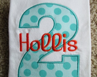 Personalized Aqua Polka Dots Second Birthday Shirt / Boys Birthday Shirt