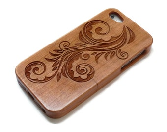 iphone 5 case / iphone 5S case wood - wooden iphone 5 case bamboo, cherry and walnut wood - Flower
