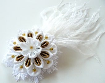 White Bridal Kanzashi Fabric Flower hair clip . Bridal Feather Hair piece.