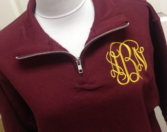 Monogrammed Sweatshirt - Quarter Zip Pullover by Mad About Monograms