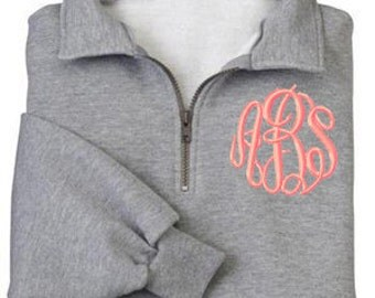 Monogrammed Sweatshirt Quarter Zip Pullover by Mad About