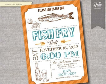 Fish Fry event - DIY Printable invitation - JPEG or PDF file