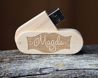 Personalized 8 GB Wood Folding USB Flash Drive