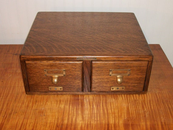 antique library bureau sole makers oak card catalog by actionltd. Black Bedroom Furniture Sets. Home Design Ideas