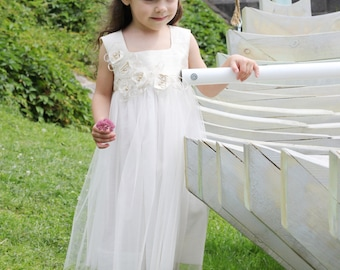 Girls flower dress D39 ivory white special occasion birthday summer beach wedding  flower baptism tutu